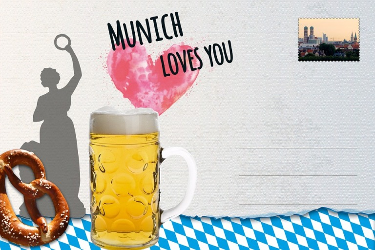 Postcard Pretzel Munich Breze Salty