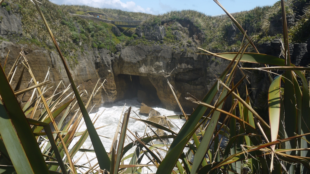 A cave below the pancake rocks