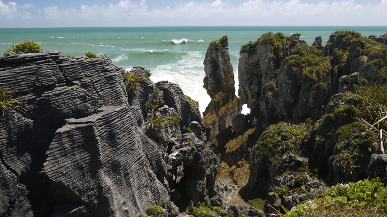 Erosion cuts chasms through Punakaiki